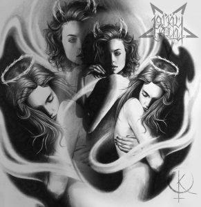 Эскиз в реализме девушки ангел и демон, для тату на руке или татуировки на ноге