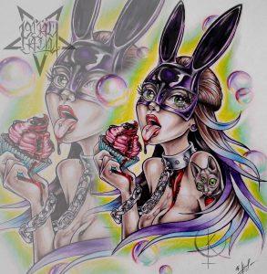 Эскиз девушки зайки с кексом, в ярких цветах, для тату на ноге либо тату на руке