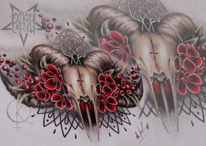 Эскиз бараний череп с цветами, для тату на груди, татуировки на животе либо тату на спине
