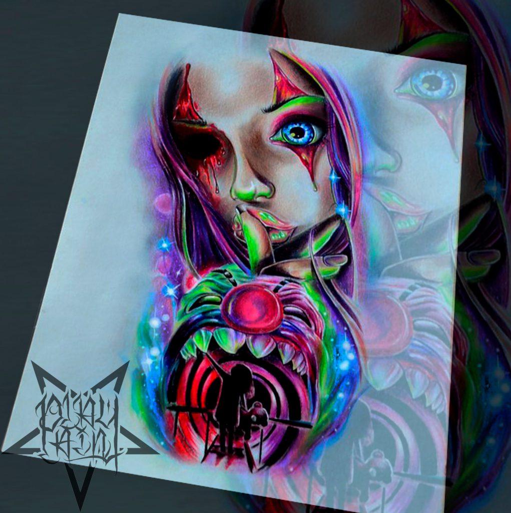 Эскиз девушки по хорреру для тату на плече или татуировки на голени, в ярких цветах