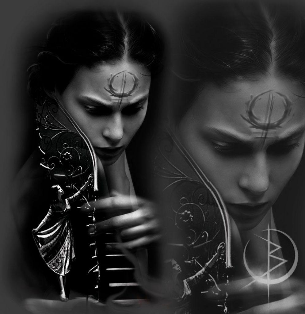 Черно серый эскиз девушки для тату на плече