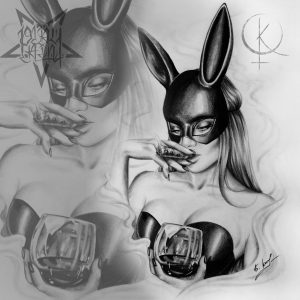 Эскиз девушка в маске зайца,для татуировки на ноге
