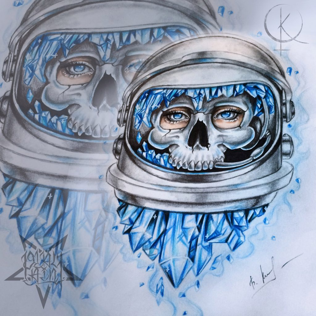 Эскиз череп космонавта с кристаллами, для тату на плече либо татуировки на ногу