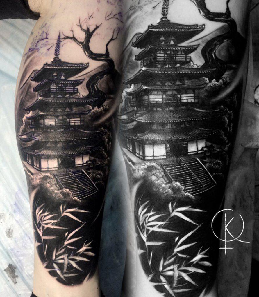 Татуировка в стиле Япония на ноге