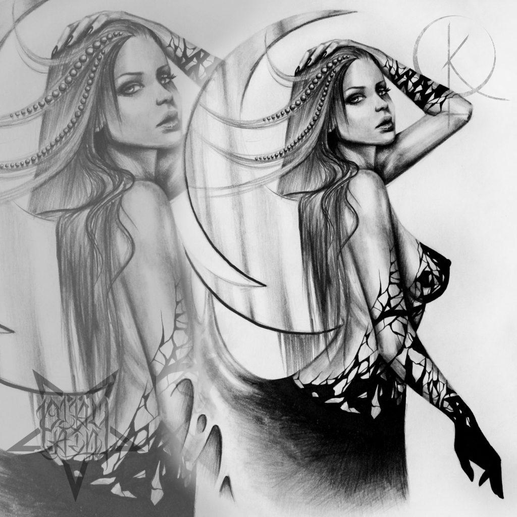 Эскиз девушки в черно-серых тонах для тату на бедре