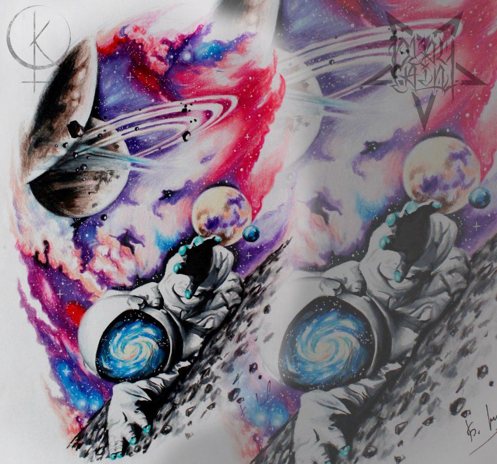Эскиз космонавта в космосе, для татуировки на руке или тату на ноге
