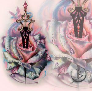 Роза с кинжалом эскиз в реализме для тату на ноге либо татуировки на руке