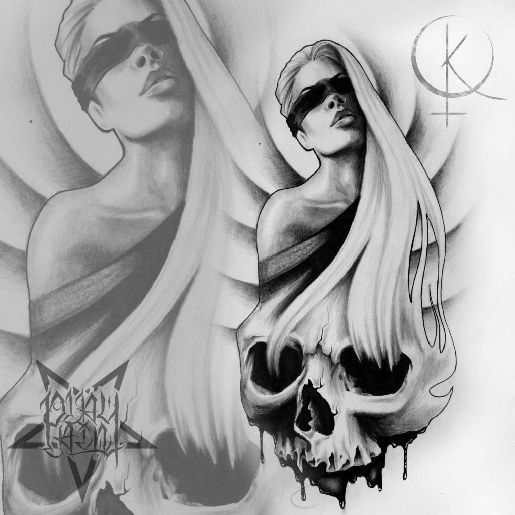 Эскиз девушки с черепом подойдет для татуировки на ногу либо тату на плече