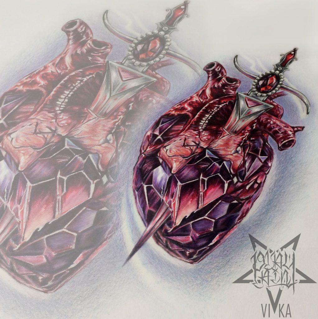 Сердце с кинжалом в реализме эскиз для тату на ноге или татуировки на руке