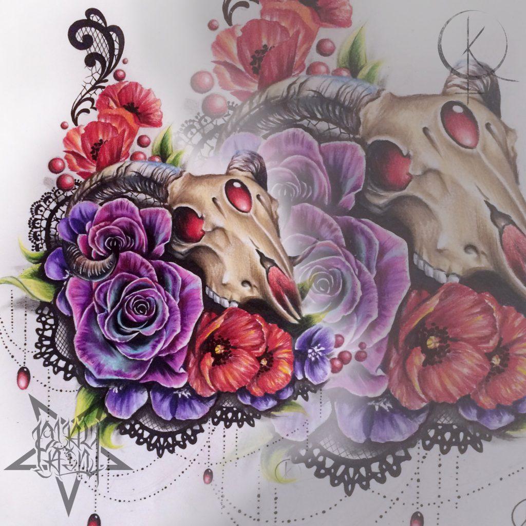 Эскиз черепа с цветами и кружевами, для тату на бедре или татуировки на спине