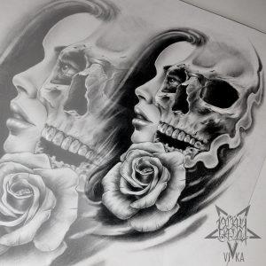 Череп с девушкой и розой в реализме для тату на плече