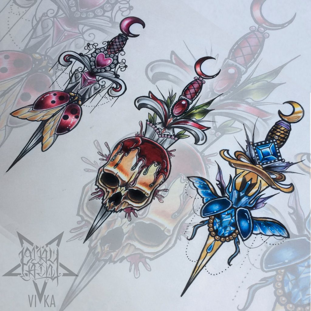 Эскизы кинжалов в неотраде подойдет для тату на руке либо татуировки на ноге
