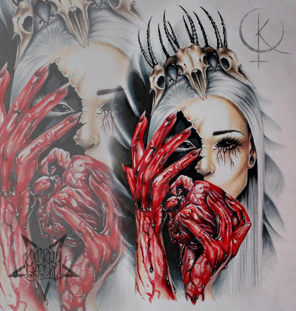 Эскиз девушки с сердцем в крови, для тату на плече