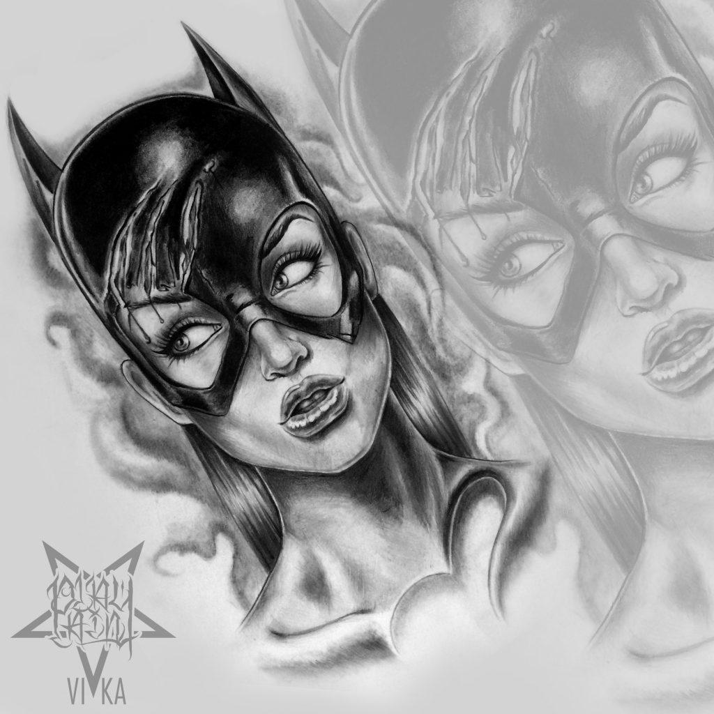 Девушка бэтмен эскиз для тату на плече или татуировки на ноге
