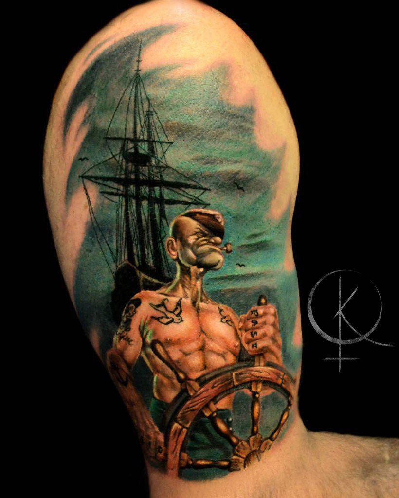 Моряк Папай цветная тату на мужском плече