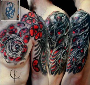 """Tattoo в стиле """"Органика"""" на груди и руке, перекрытие старой тату на плече"""