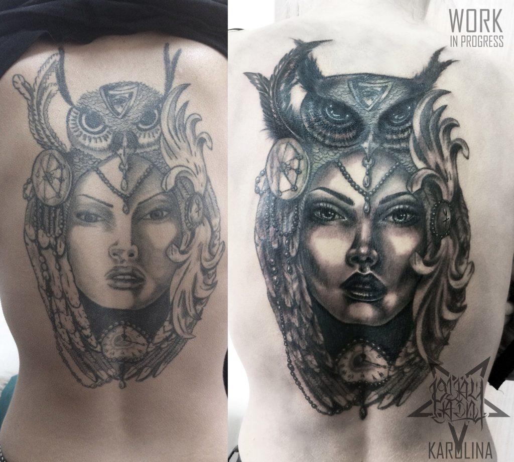 Коррекция и исправление старой татуировки на спине, девушка с совой