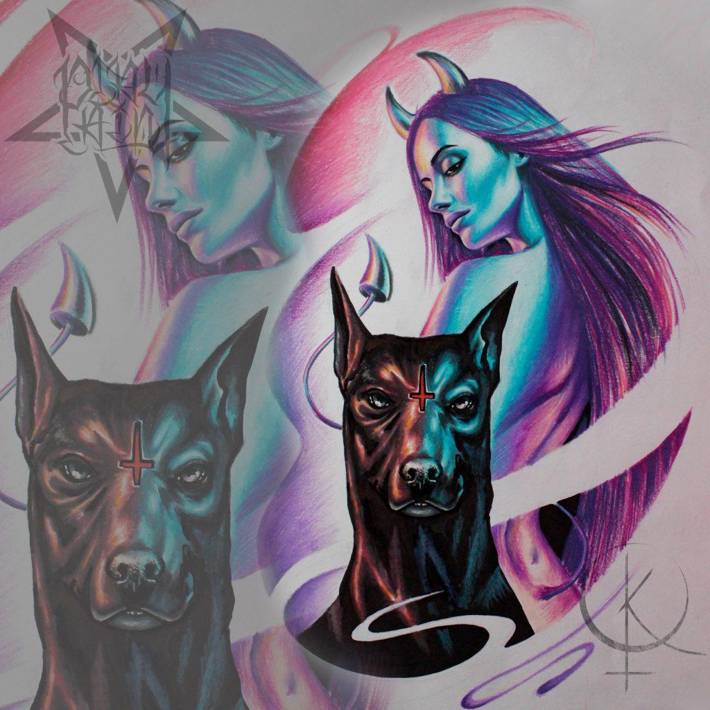Эскиз девушки с рогами и собакой, подойдет для татуировки на плече или тату на ноге