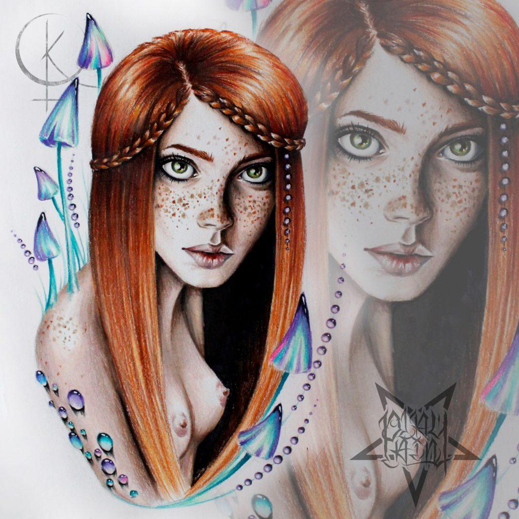 Эскиз девушка с грибочками, для тату на руке и татуировки на ноге