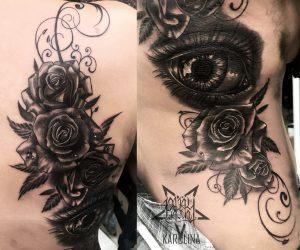 Большая тату на спине, глаз и розы