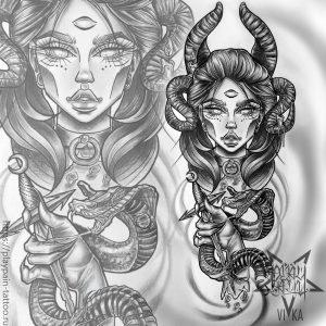 Девушка с мечом и змеёй эскиз на ногу