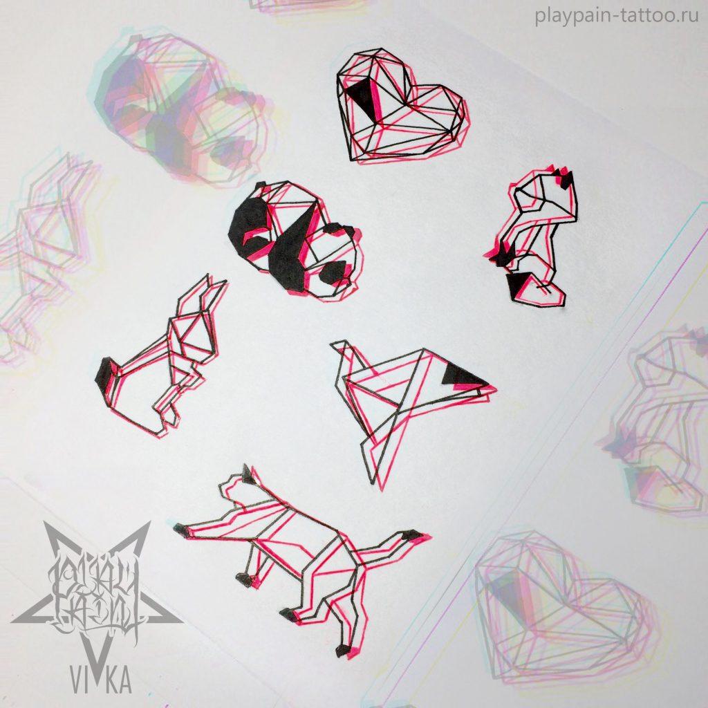 Флеш-сет эскизов для маленьких татуировок на любую часть тела
