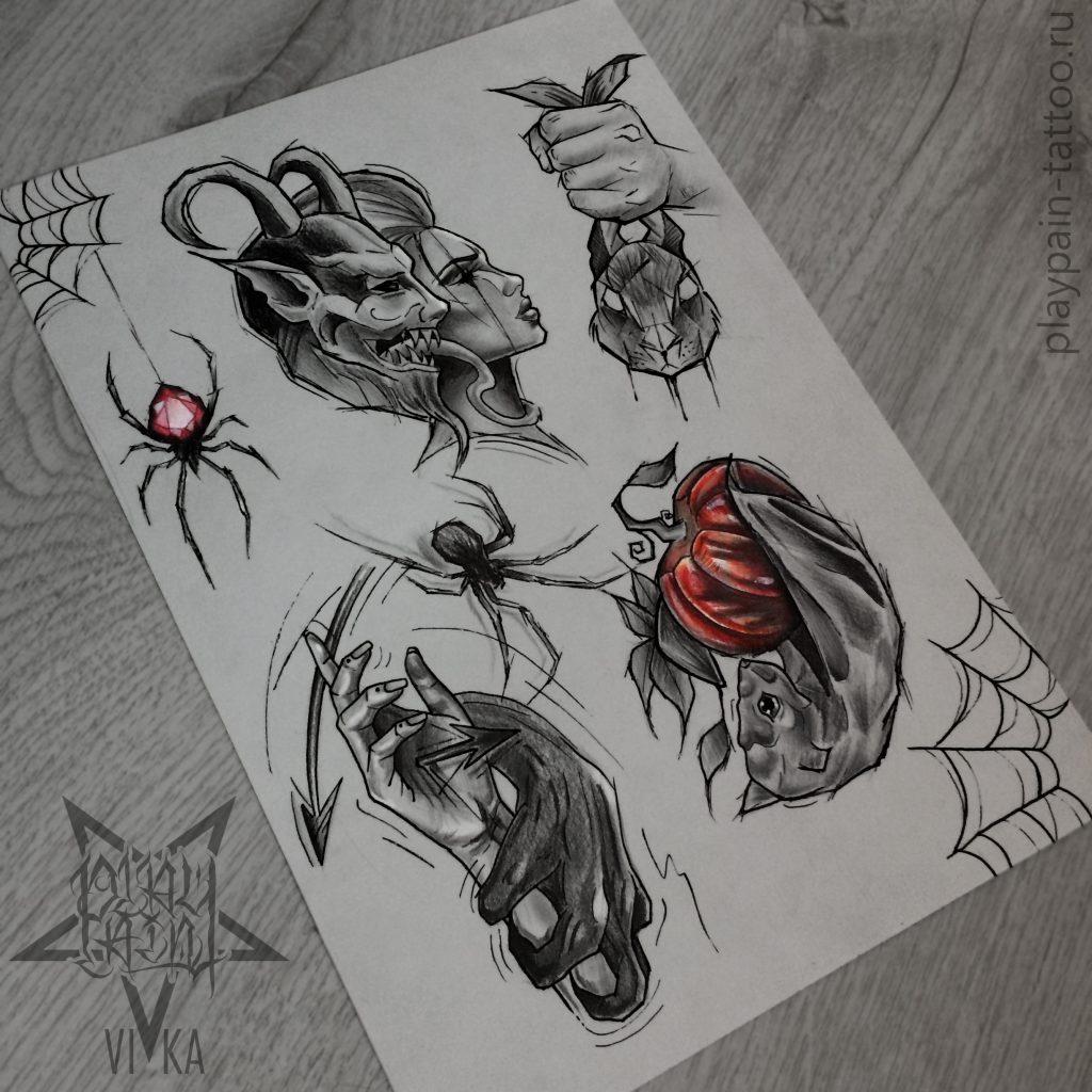 Halloween Flash эскизы подойдут для тату на любой части тела