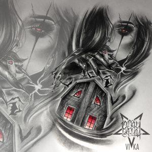 Horror дом эскиз в стиле реализм, для тату на плече или татуировки на голени