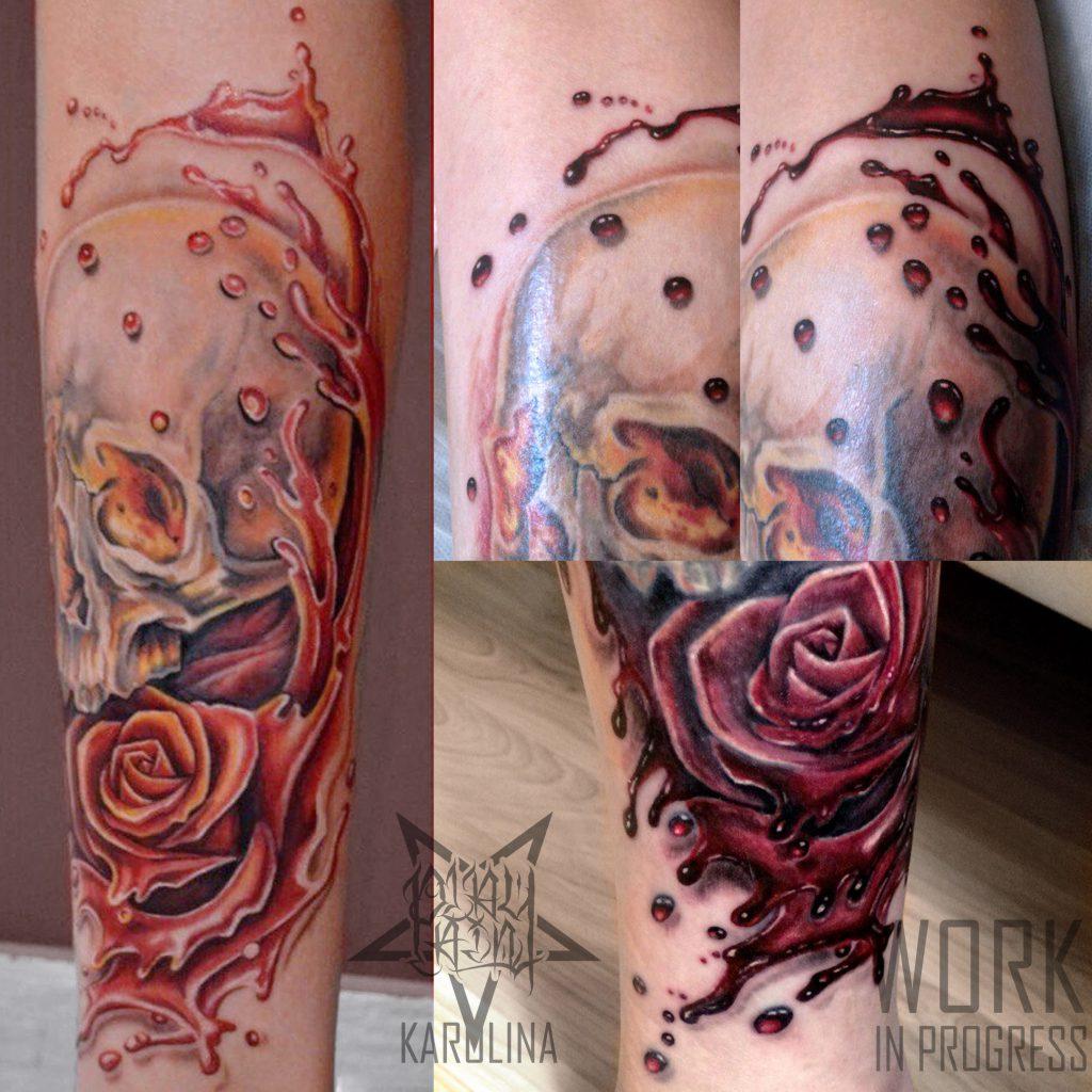 Исправление старой татуировки на ноге
