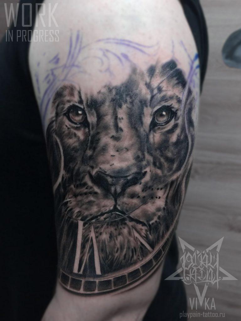 Лев мужская тату на плече