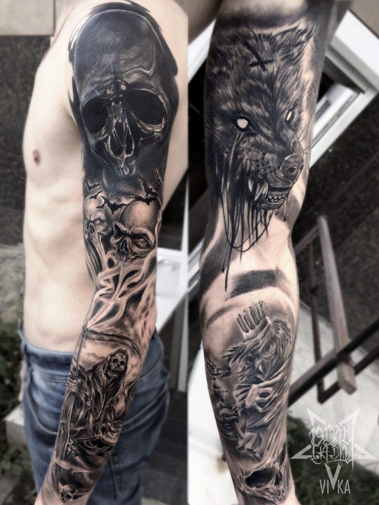 Рукав, мужская черно-серая татуировка