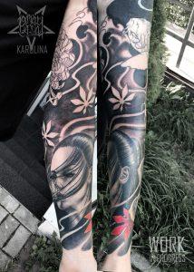 Рукав в стиле япония, татуировка на руке