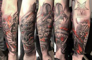 Дракон в стиле япония, татуировка на руке