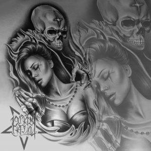 Татуировка на спине. Идеальный вариант для масштабных эскизов.