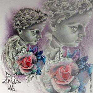Эскиз ангел с розой и кристаллами на бедро