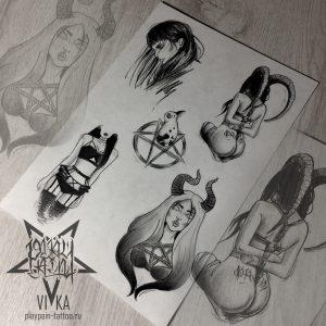 Флеш-сет эскизов для небольших татуировок, на любую часть тела