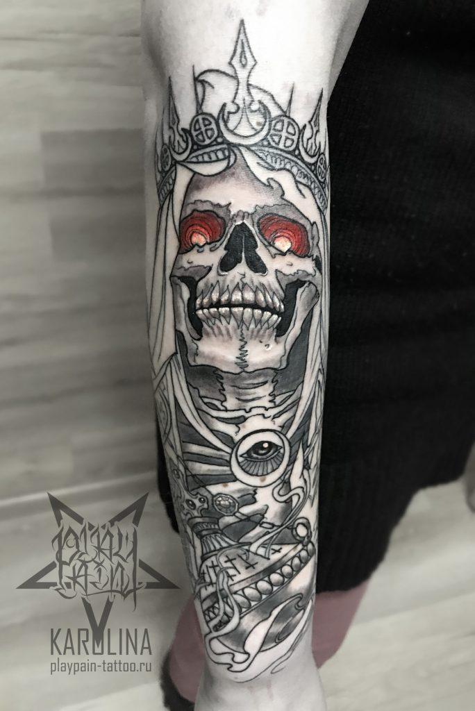 Череп на руке, Neo Traditional Tattoo