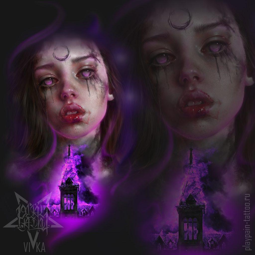Цветной эскиз в реализме, портрет девушки и разрушенная церковь