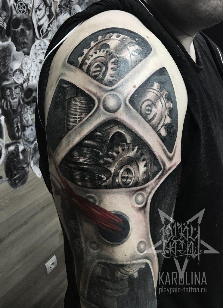 """Рукав """"Биомеханика"""" татуировка в процессе"""