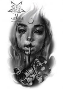 Эскиз в черно-сером реализме, девушка с тату машинкой