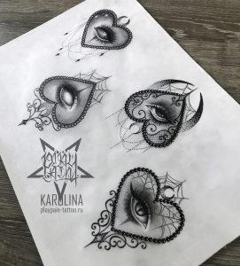 Миниатюрные эскизы в Неотраде, глаза в сердце в черно-сером цвете