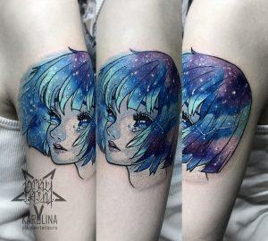 Цветная татуировка, девочка аниме