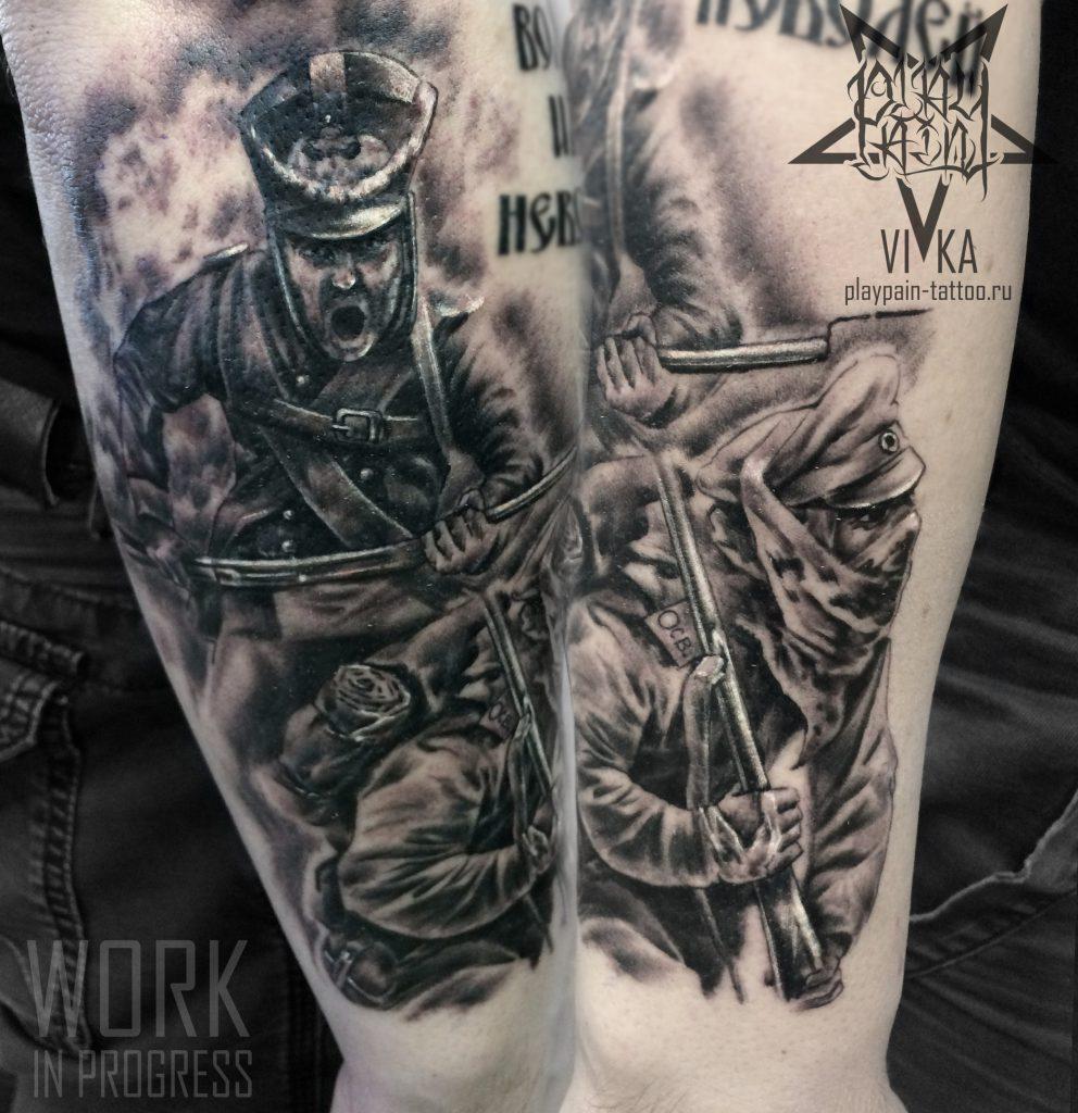 Рукав в процессе, черно-серая татуировка, солдаты