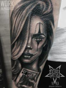 Tattoo chicano girl, рукав в процессе
