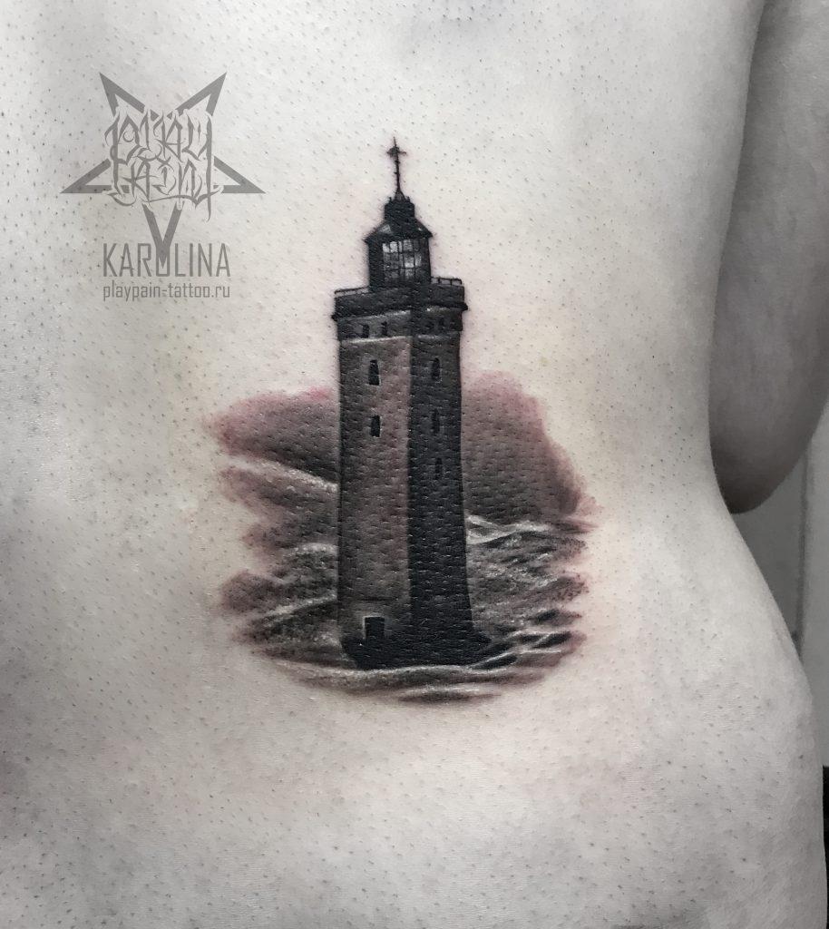 Черно-серый маяк, небольшая татуировка на спине