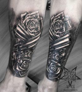 Chikano tattoo, револьверы и розы на руке