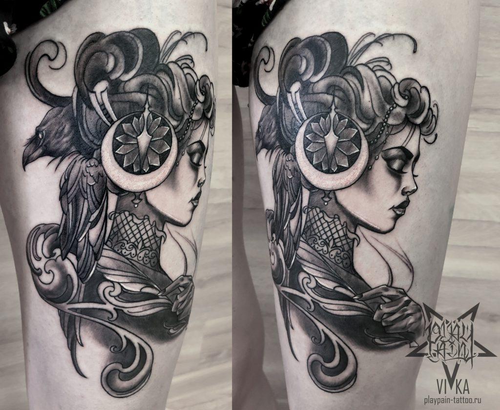 Neo Traditional Tattoo, девушка с вороном