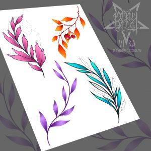 Флеш-сет для татуировок, цветные веточки
