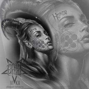 Портрет девушки с рогами, для черно-серой тату