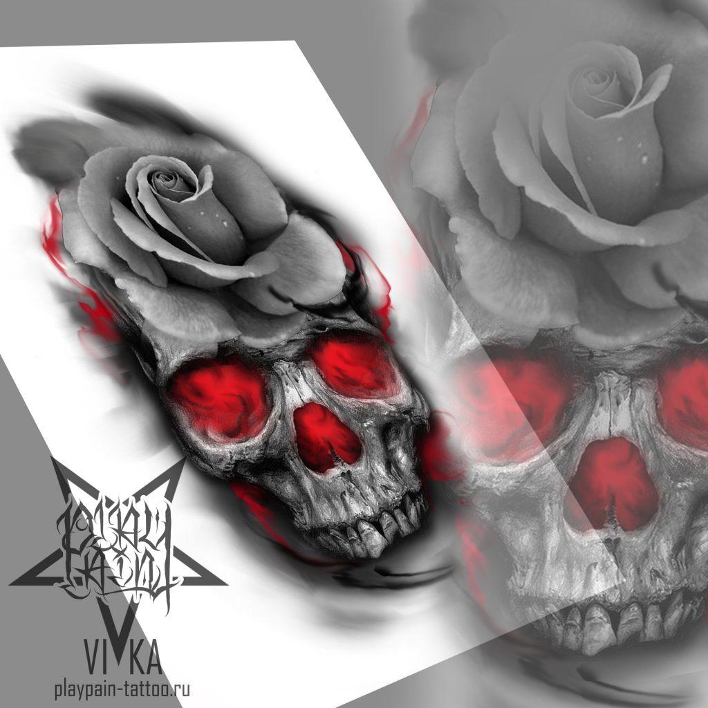 Череп с розой, эскиз для татуировки
